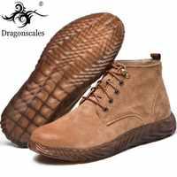 本革安全ワークブーツ狂気の馬革マーチンブーツ男性メンズファッションデザートブーツ人気ハイトップ革靴