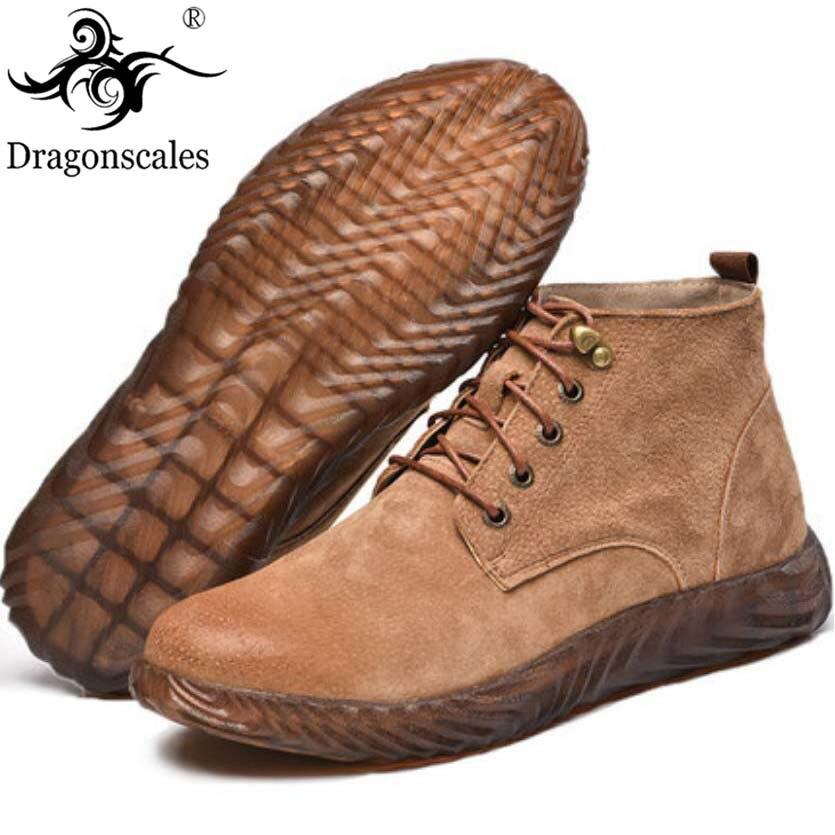 Bottes de travail de sécurité en cuir véritable cheval fou bottes Martin en cuir hommes mode désert bottes populaires chaussures en cuir haut