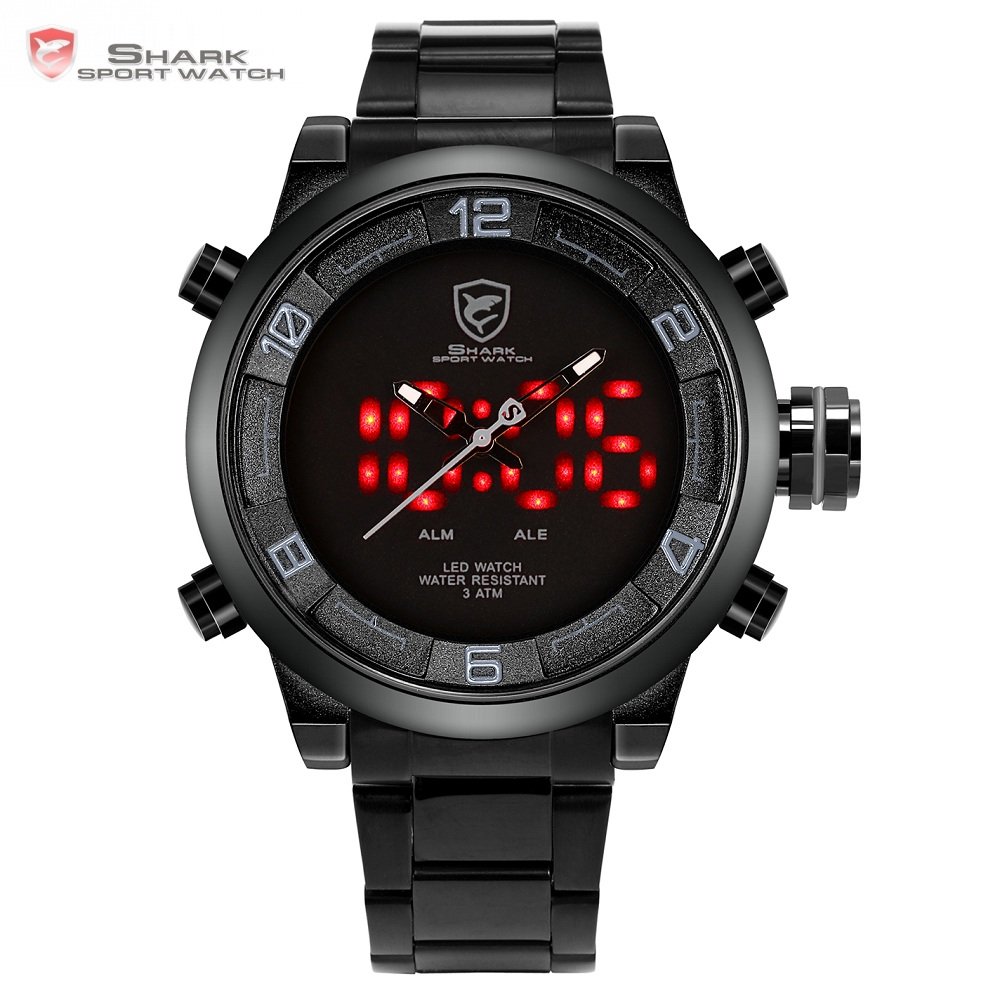Gulper Shark Sport Watch Large Dial Black Outdoor Men LED Digital Wristwatches Waterproof Alarm Calendar Fashion Watches /SH364 шейкер sport elite sh 300 850ml black
