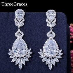 Threegraces lindo cz pedra pavimentar grande flor longa lágrima cristal nupcial pendurado brincos para jóias de casamento er031