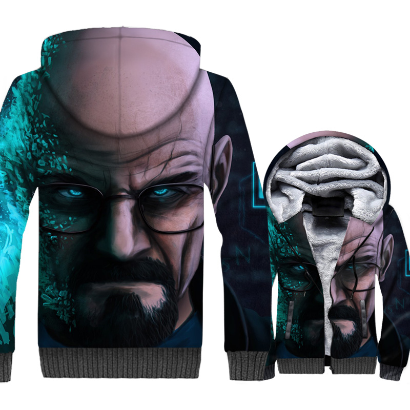 breaking Bad hipster jackets coats men zipper brand clothing 2019 winter warm wool liner tracksuits 3D printed hooded hoodies pp