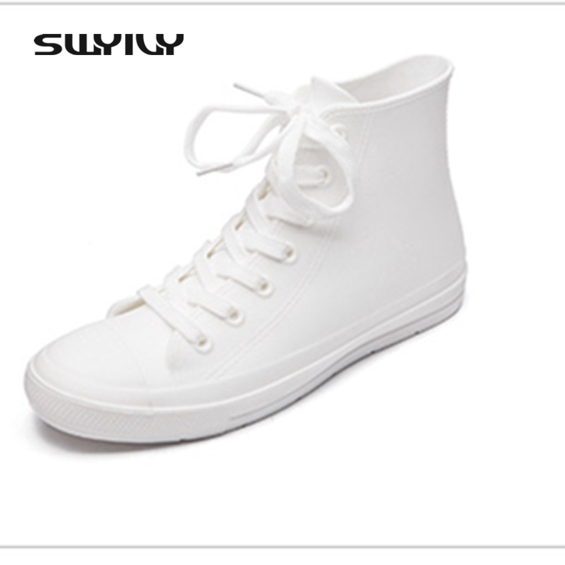 SWYIVY Women Rubber Boots High Top Female Casual Sneakers Shoes Waterproof Rain Boots White Lace Up Flat Woman Rainboots Water flowers purple elegant female boots gaotong water shoes rain shoes rubber shoes rubber rainboots