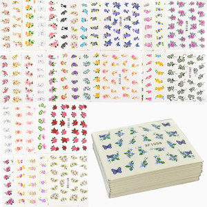 Image 1 - 60 Sheets Flowers Designs Water Transfer Nail Sticker, Watermark Nail Stickers Temporary Tattoos Manicure Beauty Tools