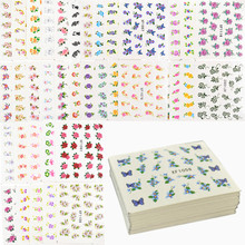 60 ورقة الزهور تصاميم نقل المياه مسمار ملصقا ، العلامة المائية مسمار ملصقات الوشم المؤقت مانيكير أدوات التجميل