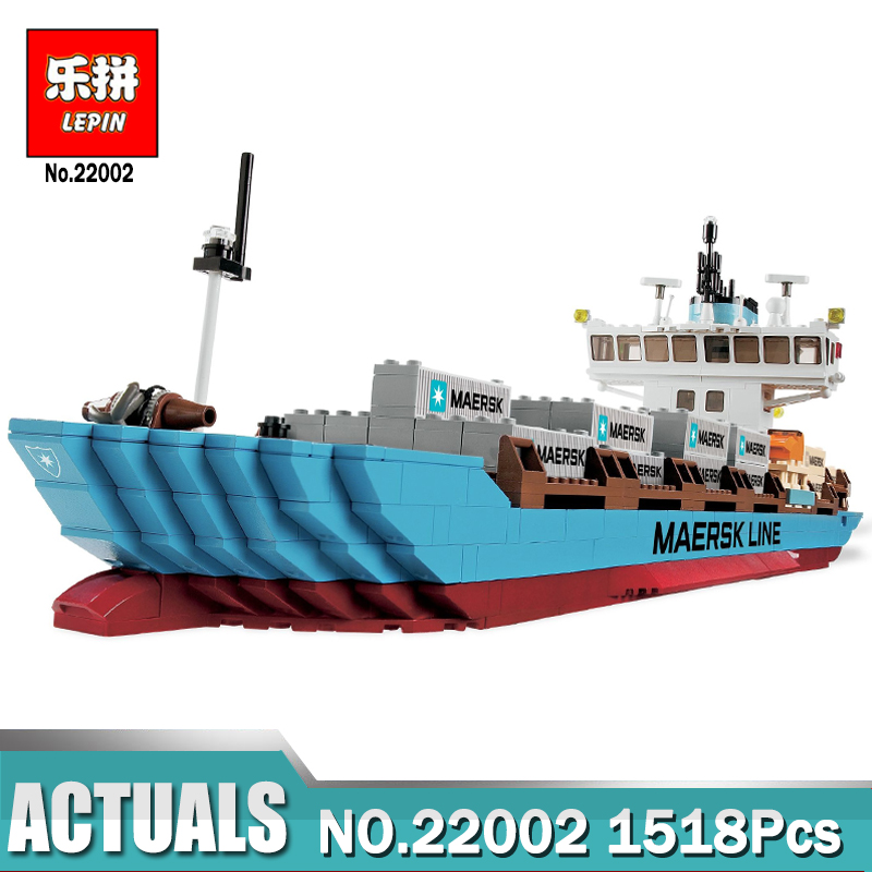 Lepin 22002 1518Pcs Technic Series The Maersk Cargo Container Ship Set Educational Building Blocks Bricks Model Legoing 10241 lepin 22002 1518pcs the maersk cargo container ship set educational building blocks bricks model toys compatible legoed 10241