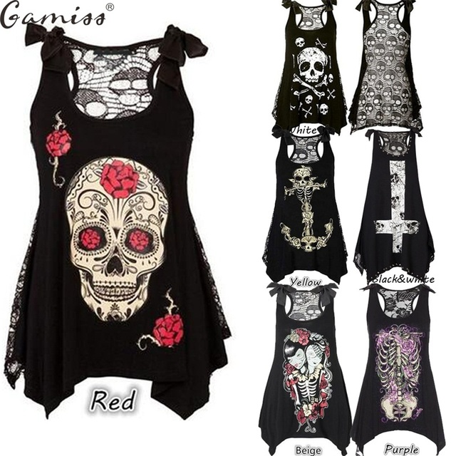 Wipalo Women Plus Size Tops 5XL Fashion 3D Skull Print Loose Lace Patchwork Bandages Casual Sleeveless Blusas Punk Black T Shirt