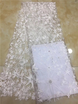 White African Tulle Lace Fabric 2018 High Quality Beading Nigerian Lace Fabrics French Mesh Wedding Lace X12