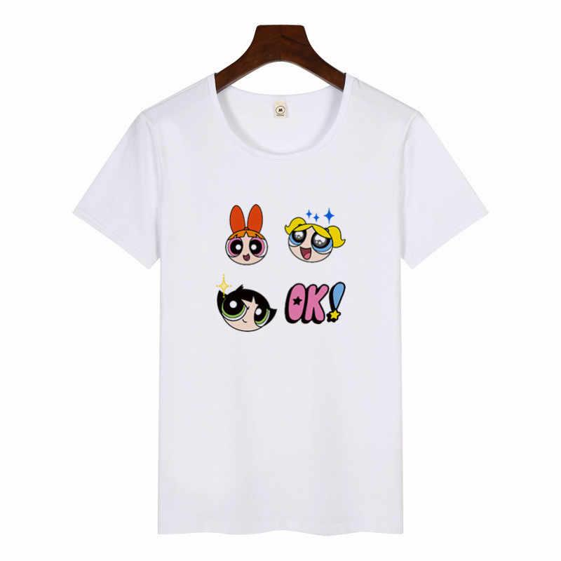 נשים של בנות הפאוור פאף מודפס T חולצה קיץ מזדמן קצר שרוול טי חולצות קריקטורה אופנה חולצות Tees Streetwear חולצות