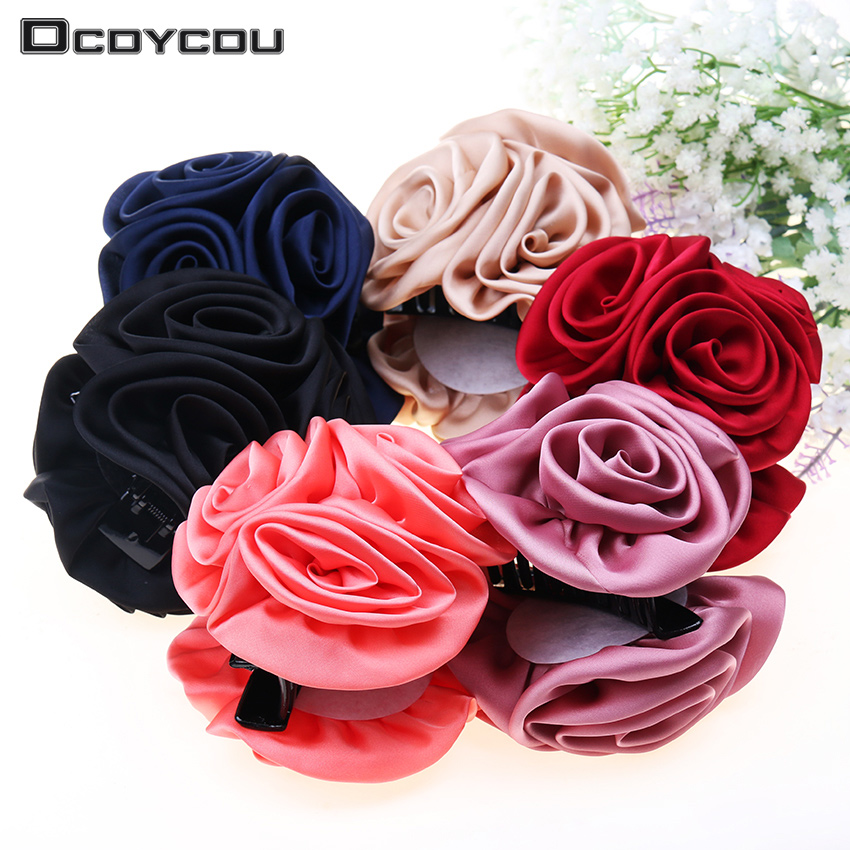 1PC Korean Beauty Ribbon Rose Flower Bow Jaw Clip Barrette Hair Claws for Women Headwear Hair Accessories halloween party zombie skull skeleton hand bone claw hairpin punk hair clip for women girl hair accessories headwear 1 pcs