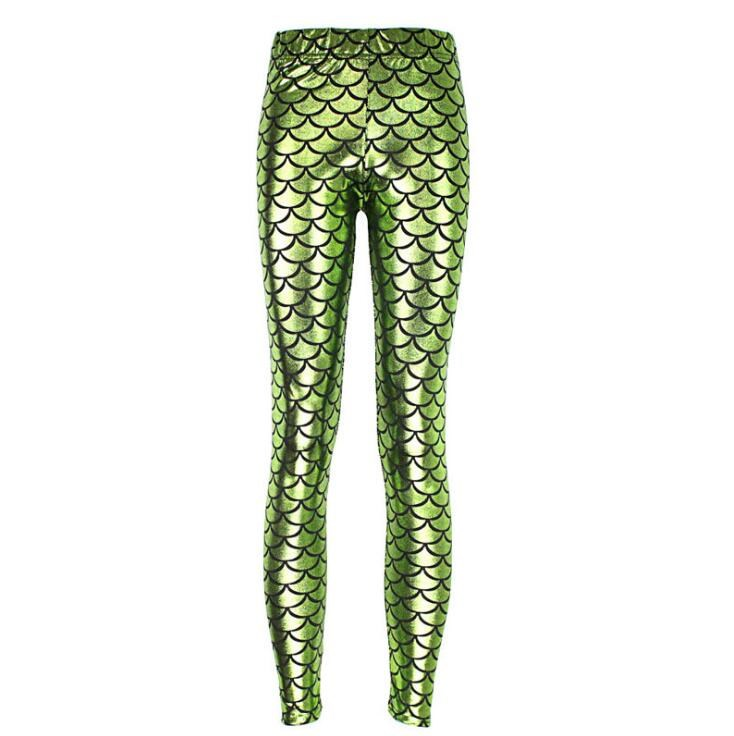 Новинка,, женские леггинсы с цифровой печатью в виде рыбьей чешуи,, большие размеры S M L XL XXL XXXL, 21 цвет - Цвет: K030 Light green