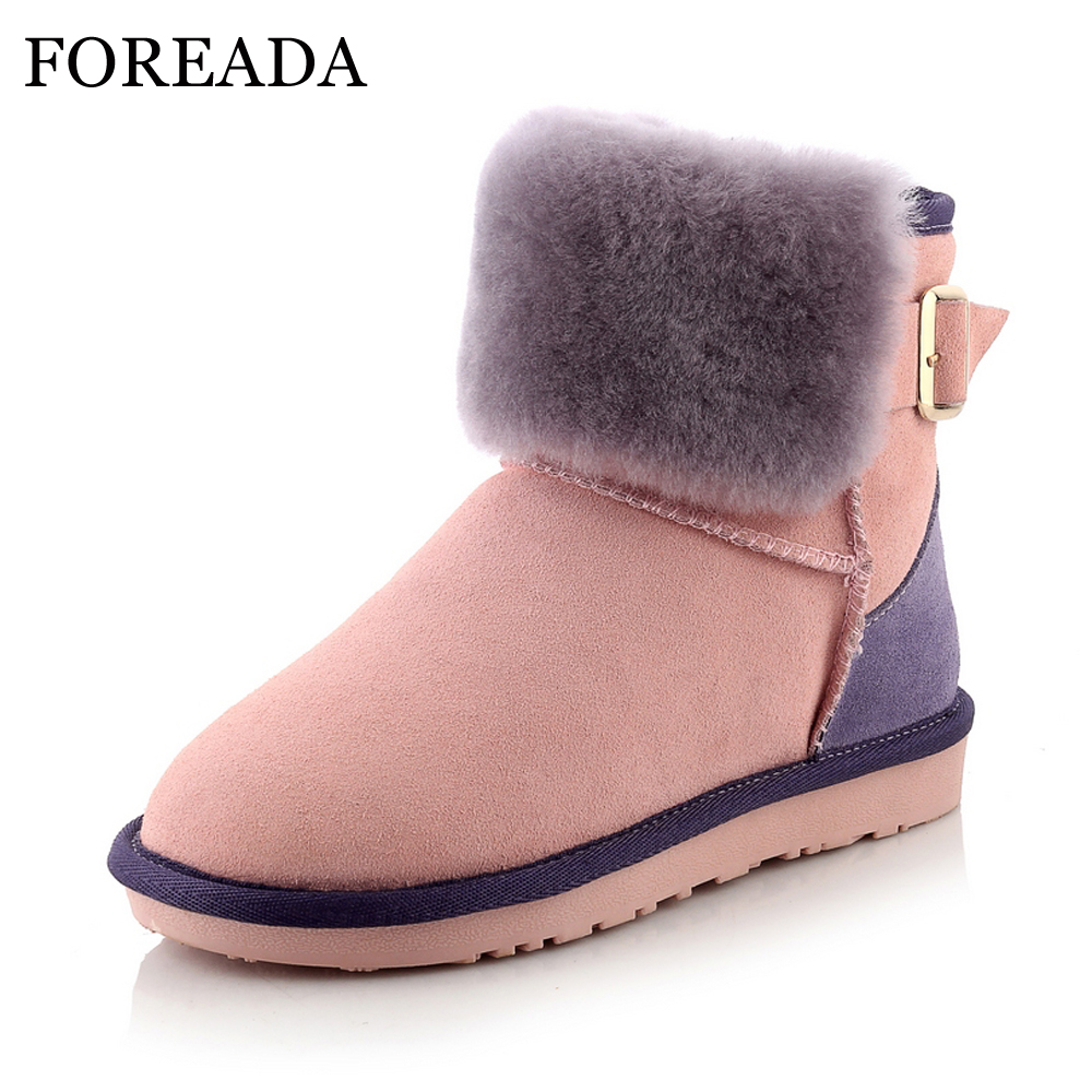 FOREADA Natural Leather Boots Women Winter Snow Boots Real Fur Warm Ankle Boots Buckle Genuine Leather Flats Platform Shoes Pink foreada genuine leather boots winter women real rabbit fur ankle boots sewing platform wedge high heel snow boots zip lady shoes