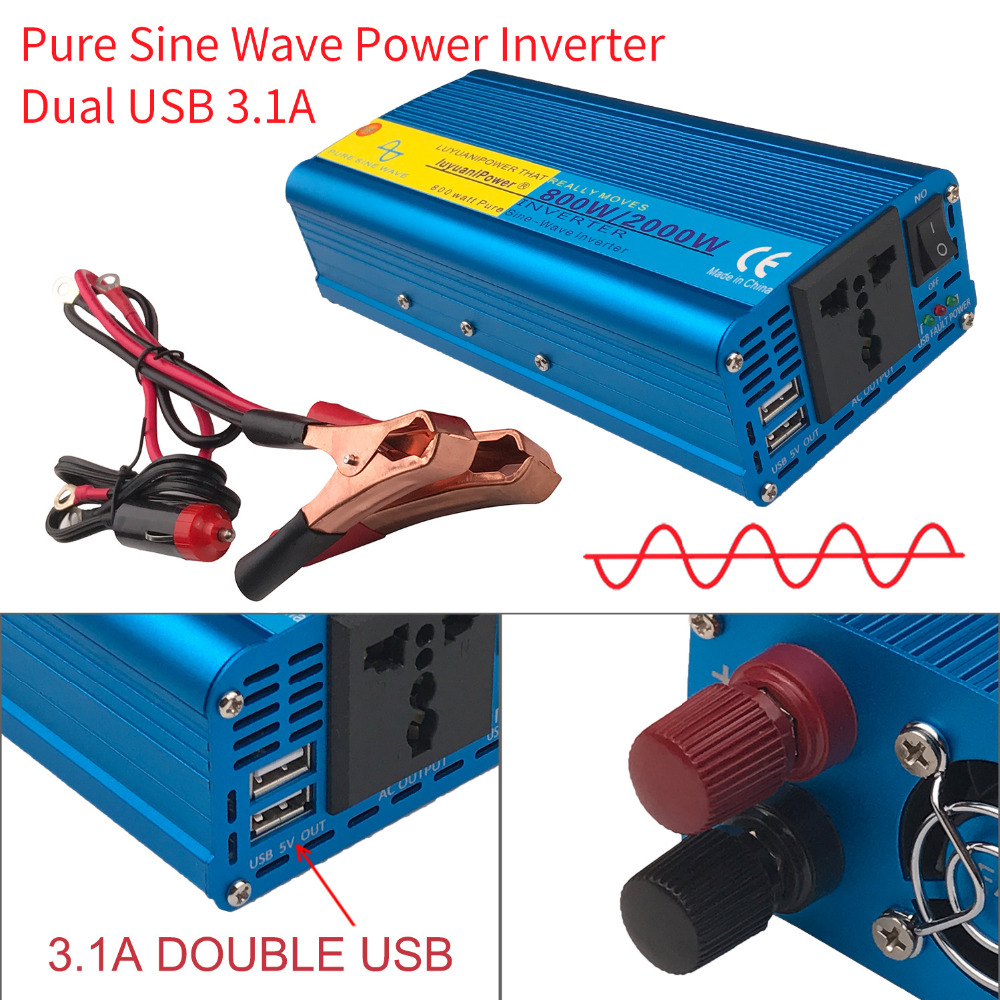 Pure Sine Wave Dual USB 2000W Watt DC 12V to AC 220V Portable Car Power Inverter