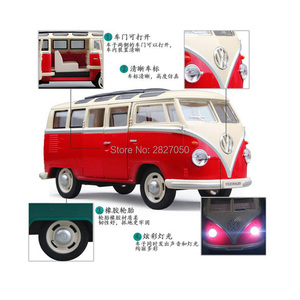 Image 5 - 1:24 Alloy Diecast VW Classical Minibus Pull Back Car toys Mini Van Bus with light and voice toy cars for children