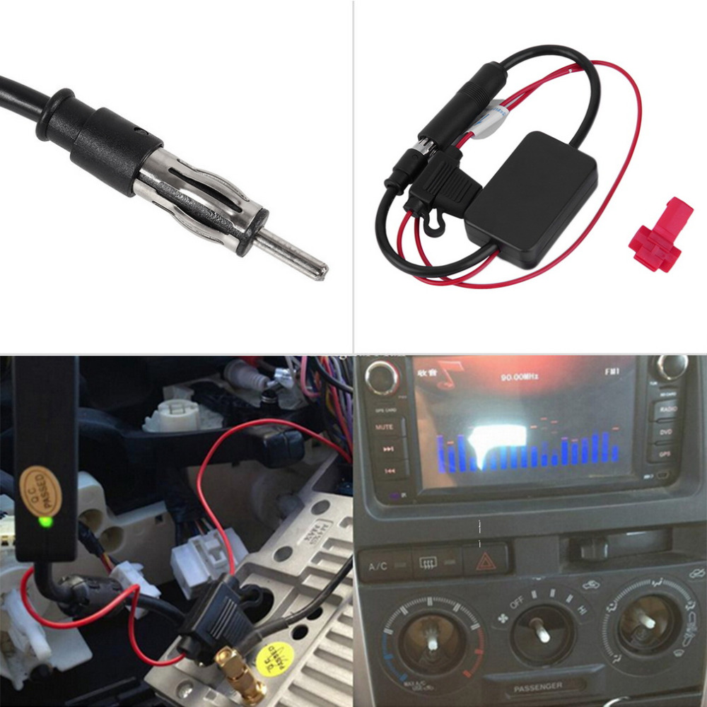 High Quality Black 12V Car Automobile Radio Signal Amplifier ANT-208 Auto FM Antenna Booster#