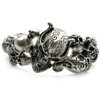 Guarantee 100 Huge Heavy Halloween Cool Sliver Plunderer Skull Bangle Men Biker Bracelet Steel