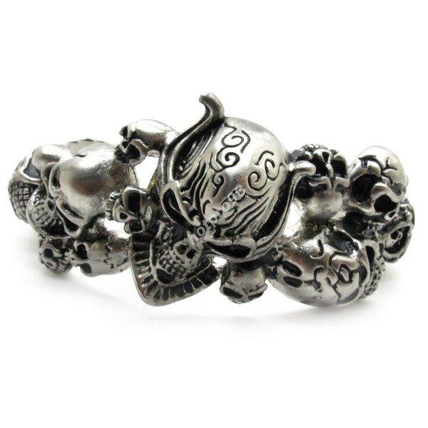 Guarantee 100% Huge&Heavy Halloween Cool Sliver Plunderer Skull Bangle Men Biker Bracelet Steel