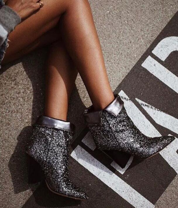 Spring New Bling Dark Silver Glitter Women Ankle Boots Sexy Pointy Toe Ladies Finger Heel Boots Slip On Fashion Fold Boots women sexy bling bling open toe lace up glitter embellished gladiator ankle boots cut out mix color sequined high heel boots