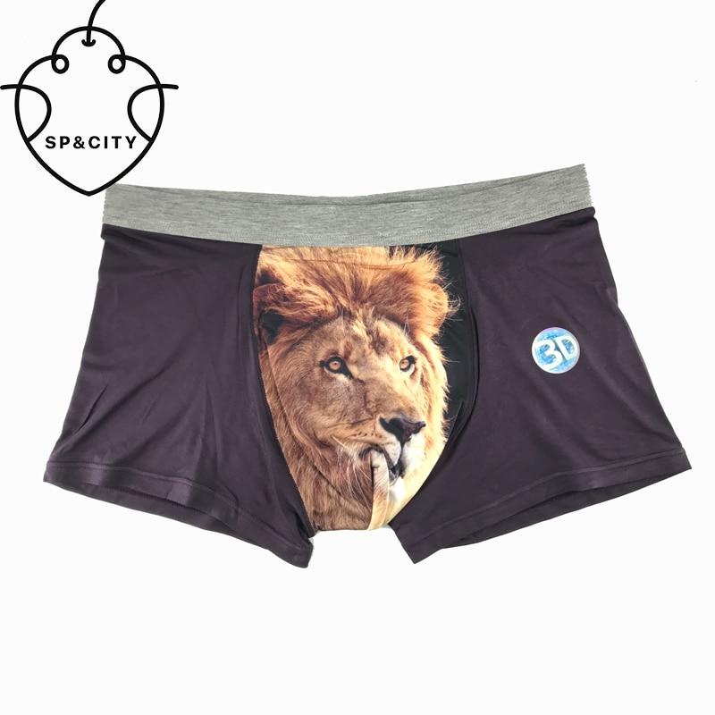 SP&CITY NEW Cotton Wolf Underwear Men 3D Sexy Underwear Pictures Big Men Seamless Lion Print Boxers Bulge Funny Boxer Shorts