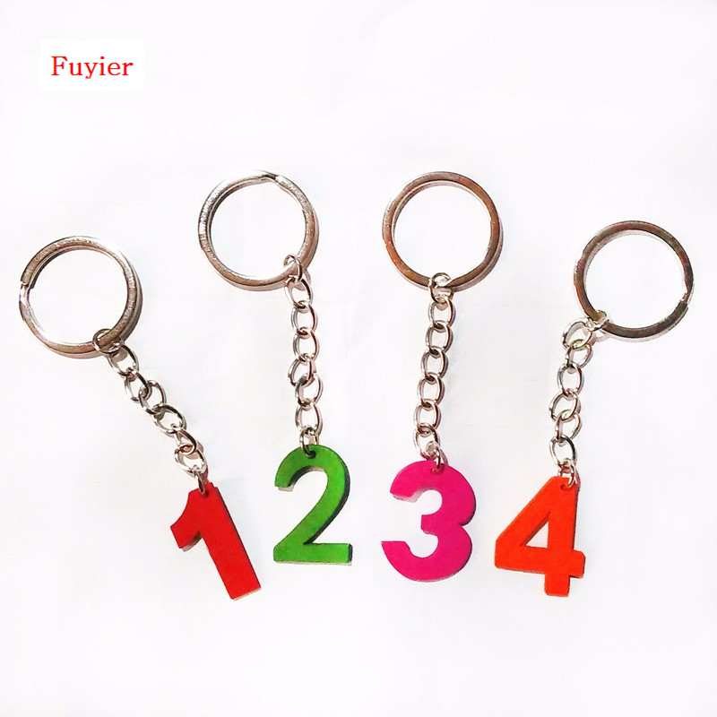 Customizable Wood Carving Digital Key Ring Lovely Arabic Numeral Key Chains Any Combinat ...