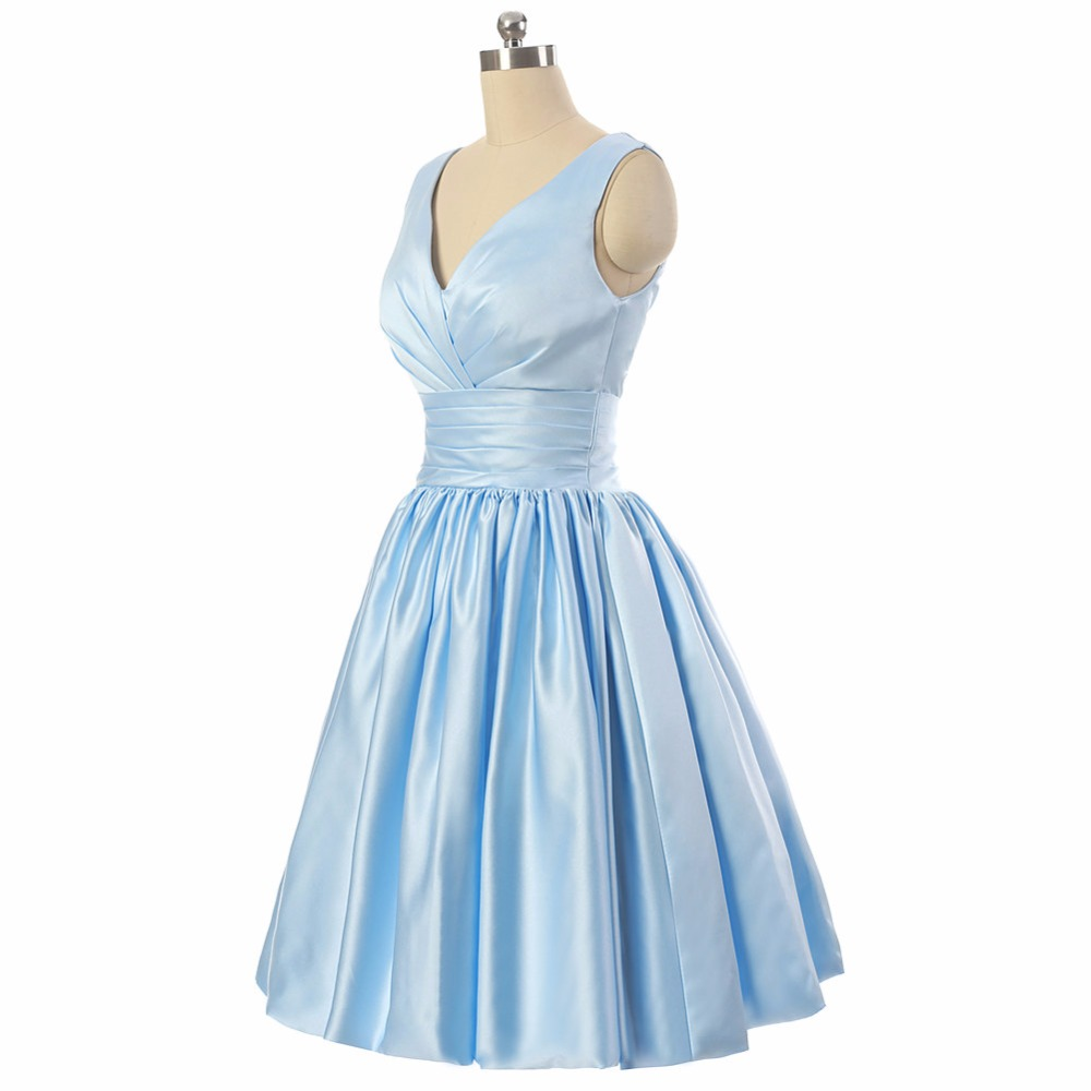 Blue knee length bridesmaid dress v neckline short maid of honor blue knee length bridesmaid dress v neckline short maid of honor dress simple vintage style 50s custom fast ship party dress in bridesmaid dresses from ombrellifo Image collections