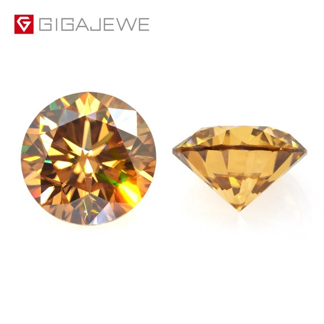 GIGAJEWE Moissanite 1.0ct Golden VVS1 Round Cut laboratory Diamond Gem Loose Stone Charms For DIY Jewelry Making Girlfriend Gift