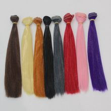 1 Piece 25*100cm Brown Flaxen Coffee Natural Color Doll Wig Straight Thick Hair for 1/3 1/4 1/6 BJD DIY Accessories