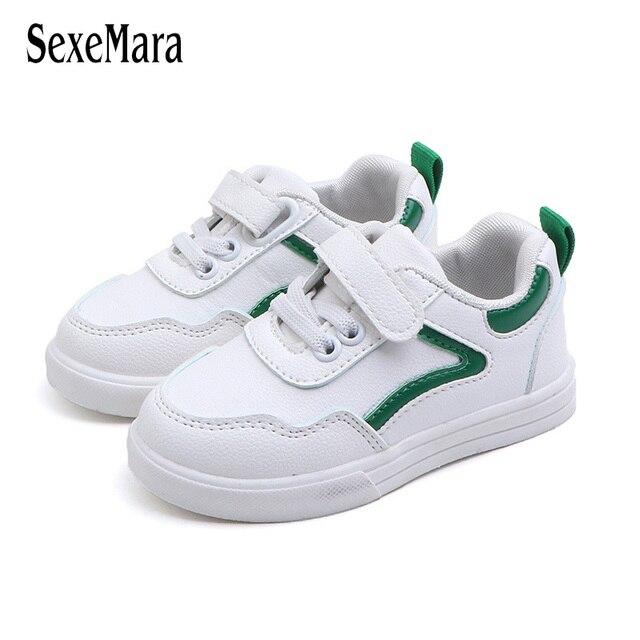 venta más caliente brillo de color unos dias Niños pequeños zapatos blancos niñas zapatillas a rayas Zapatos 2019  primavera otoño niños calzado niño C02181