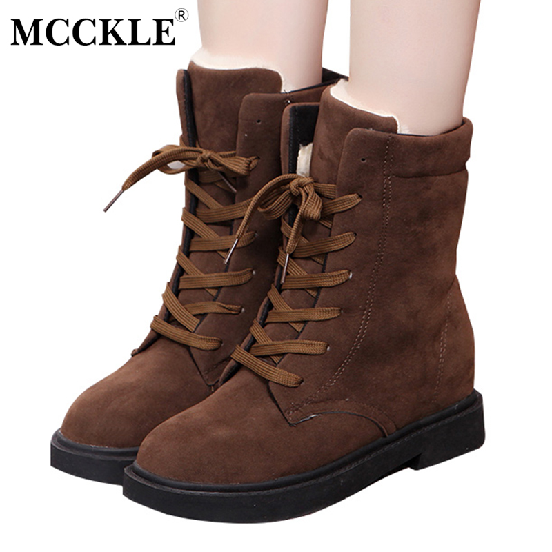 MCCKLE Ladies Winter Warm Plush Ankle Snow Boots 2017 Women Fashion Fur Lace Up Thick Heel Casual Solid Black Style Shoes esveva casual winter women shoes warm fur lace up snow boots wedges heel platform ankle boots black white plush fashion boots