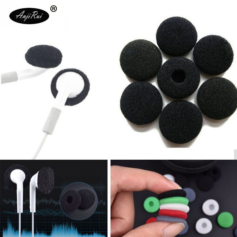 10 Pcs ANJIRUI 18mm Black Soft Foam Earbud Headphone Ear Pads Replacement Sponge Covers Tips For Earphone MP3 MP4 Moblie Phone