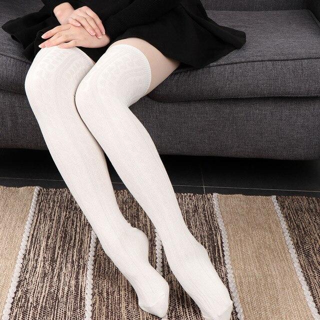 d699084051bc02 € 3.63 12% de réduction|1 paire Chaude Sexy Mode Femmes Filles Tricot Coton  Plus Genou Cuisse Chaussettes Haute Automne Hiver Chaud Chaussettes ...