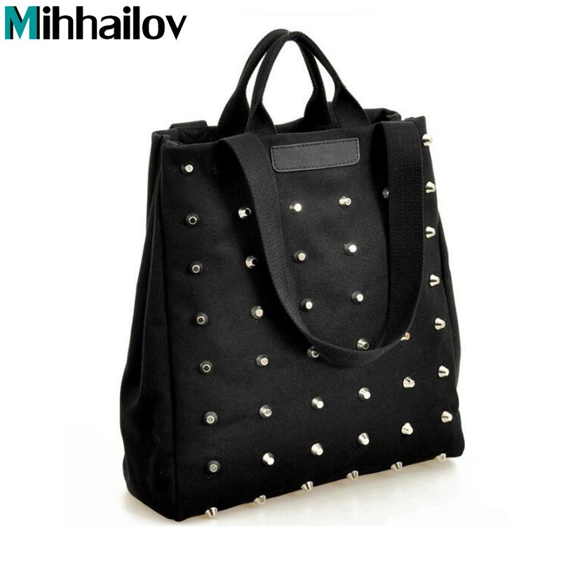 Fashion Rivet Women Handbag Casual Canvas Shoulder Bags Female Tote Book Black Ladies Top-Handle Hand Bag Sac A Main  XS-439