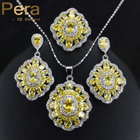 Fashion Ladies 925 Sterling Silver Costume Jewelry Big Square Yellow Cubic Zircon Crystal Necklace Earrings Set