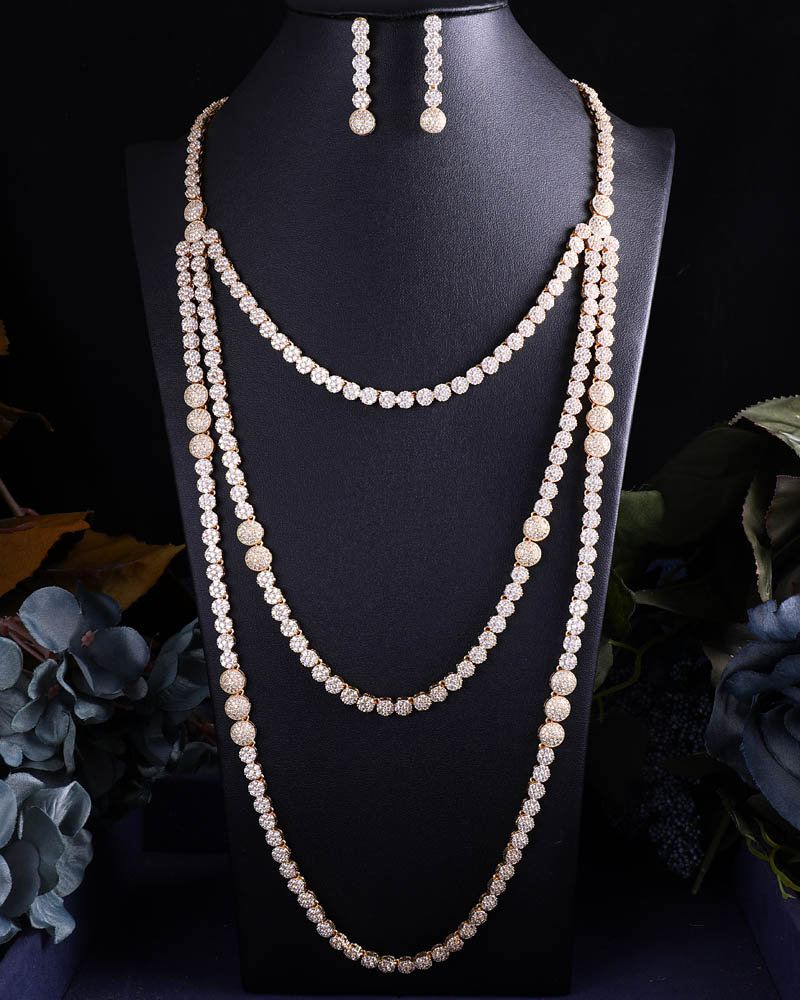 ACCKING New design long Chain Bridal Cubic Zirconia Necklace Earrings Sets For Women Wedding Jewelry Sets