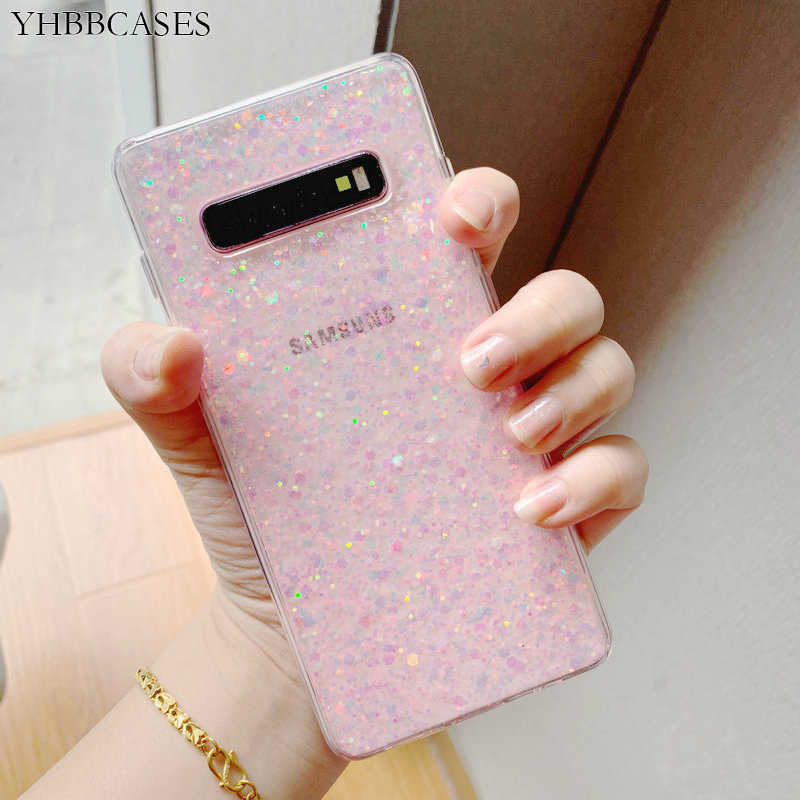 YHBBCASES For Samsung Galaxy S8 S9 S10 Plus Fashion Bling Colorful Sequins Clear Soft Case For Samsung Note 8 9 Dreamlike Cover