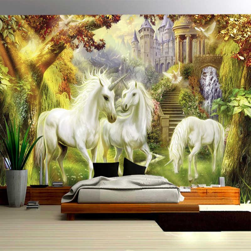 Fantasi Hutan Peri Unicorn Kuda Putih Castle Mural Gaya Eropa 3D Foto Wallpaper Samping Tempat Tidur Ruang Tamu Dekorasi Rumah 3D Fresco