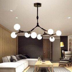 Nowoczesne żyrandole ledowe światła salon lampa wisząca loft oprawy Nordic jadalnia oprawy żelazne światła wiszące w Wiszące lampki od Lampy i oświetlenie na