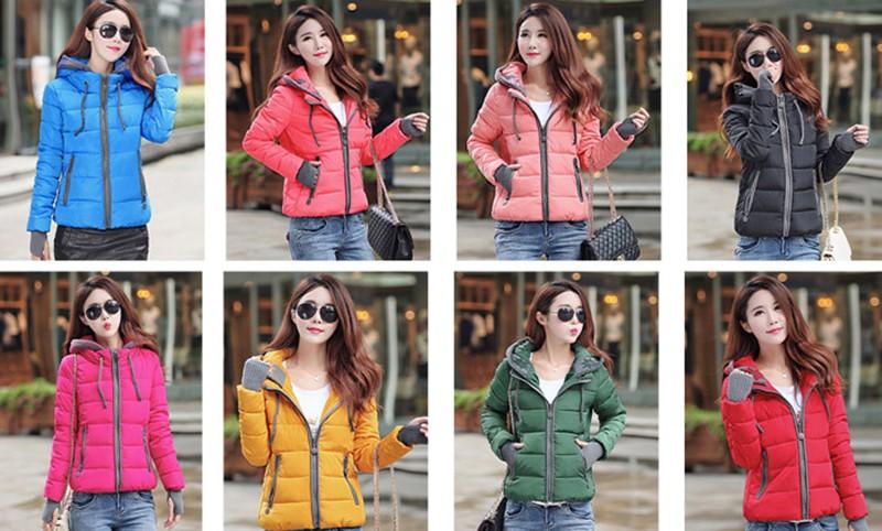 Women Winter Coat Long Sleeve Print Floral Hooded Slim Winter Parka Plus Size Cotton-Padded Jackets 2XL (1)