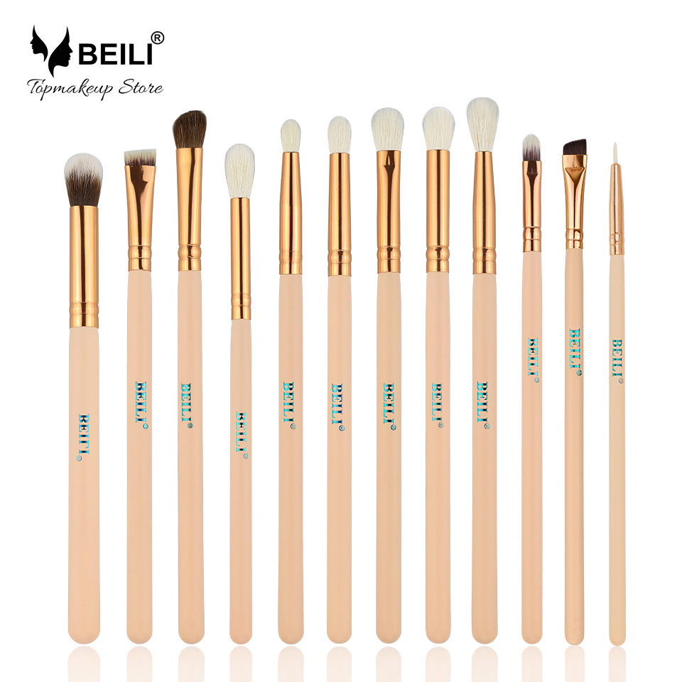 BEILI 12pcs Rose Golden 100% Natural Goat Pony Synthetic Hair Eye shadow Eyeliner Concealer Makeup Brush Set beili 12 pieces black premium goat hair synthetic powder foundation blusher eye shadow concealer makeup brush set cosmetic bag