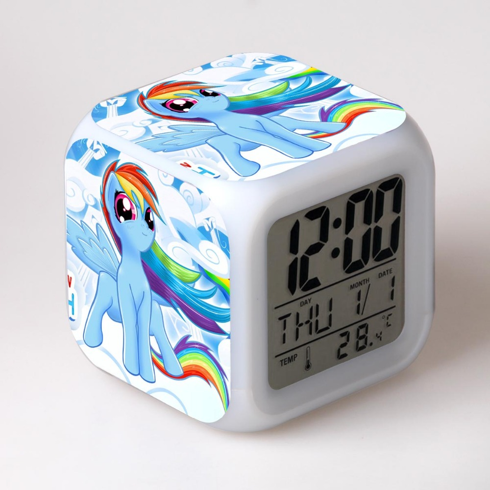 In Stock My Rainbow Horse Action Figures Alarm Clock LED Touch Light Anime Figurines Poni PVC Toys For Children new in stock vi 26r my