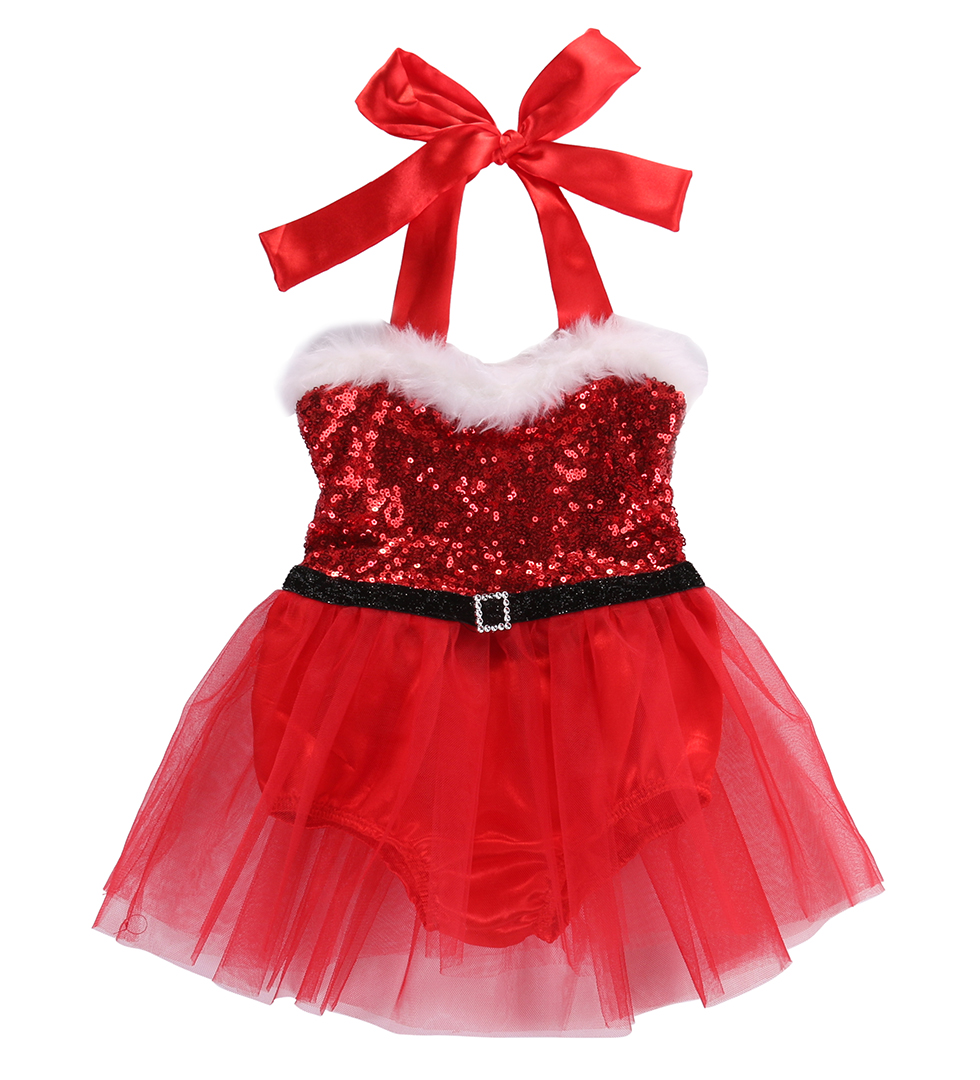 Newborn baby girl rompers dress clothes santa claus sequin