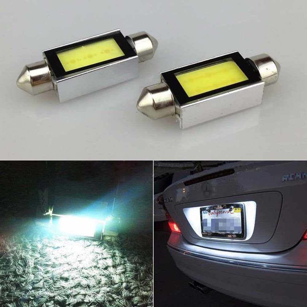 2 X White Xenon 36mm Car COB LED License Plate Light 6418 C5W 4W LED Bulbs 12V Dropshipping 2019 NEW Arival  Hot Sale For bmw e8
