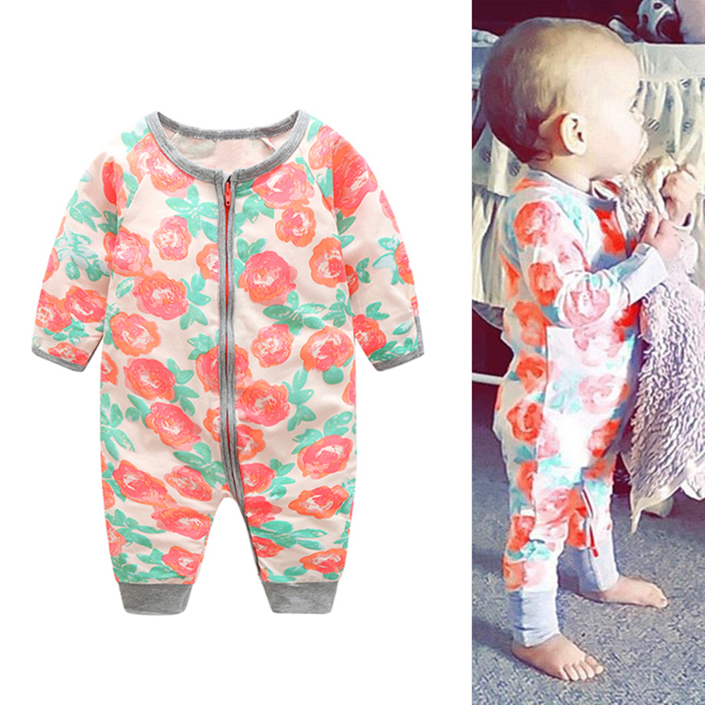 Baby Overall Warm Winter for Girl Floral Rompers Newborn Long Sleeve Cotton Jumpsuit Clothes 6-18M