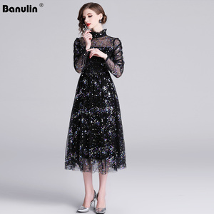 Image 1 - Banulin HIGH QUALITY Newest Stylish 2019 Runway Party Dress Womens Long Sleeve Star Sequined Embroidered Gauze Mesh Dress