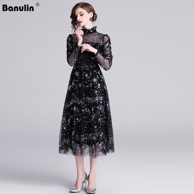 Banulin HIGH QUALITY Newest Stylish 2019 Runway Party Dress Womens Long Sleeve Star Sequined Embroidered Gauze Mesh Dress