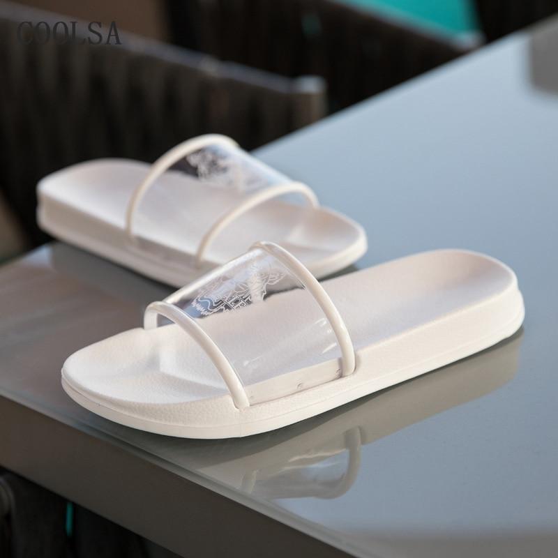 Transparent Slippers Women Clear Slides Flat Soft Non Slip Comfortable Home Slippers Summer Woman Indoor Flip Flop Beach Sandals