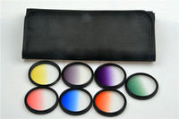 7in1 49mm Rotating Gradual grey green orange yellow red blue purple Grad color Lens Filter Kit for sony Canon nikon pentax lens