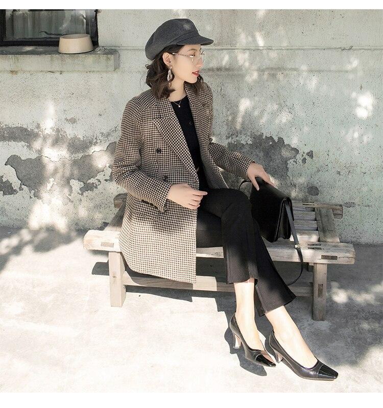 Plaid Veste Rétro Costume Long Blazers À Femme Boutonnage Femmes 1 Lâche Nouveau Iwoolen Double Petit zMSpVqU