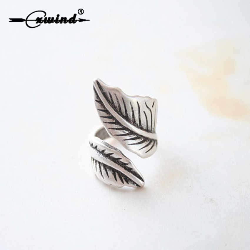 Cxwind רטרו מתכוונן רחב עלה טבעת Boho Bague עתיק עלה דגי טבעת עלים טבעות לנשים תכשיטי Knuckle אופנתית