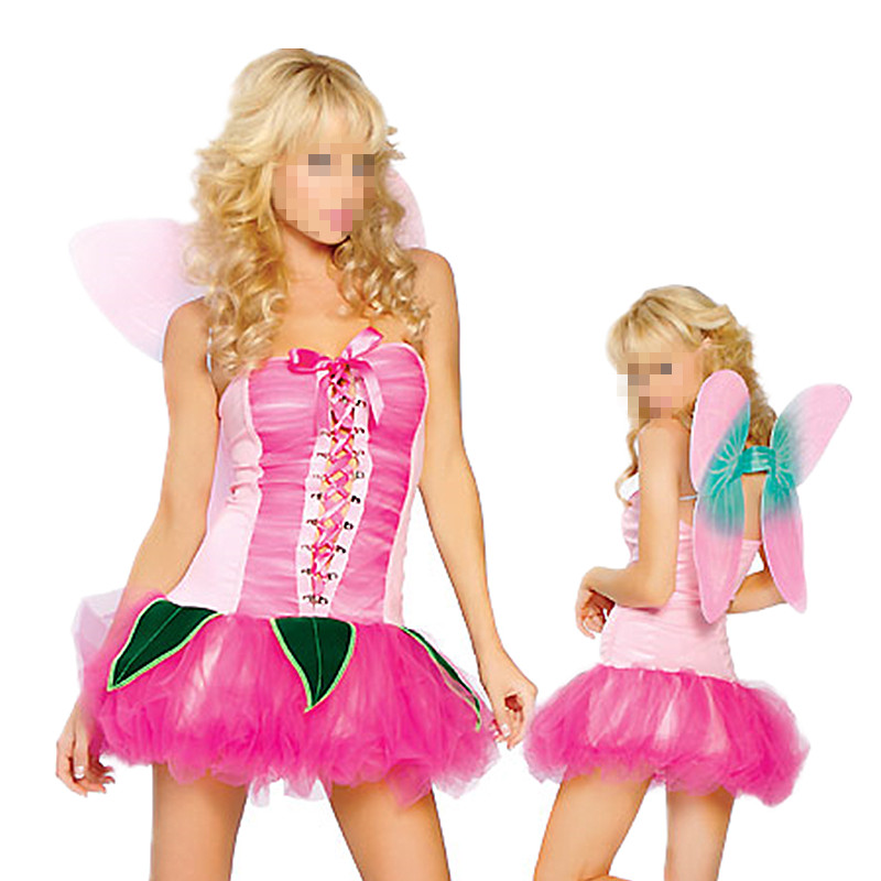Drop shipping adult Princess Peach costume women cosplay party halloween pink fancy dress costumes with wings M4396