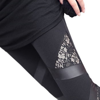 Punk gothic rock legging lace PU Leather splice Leggings